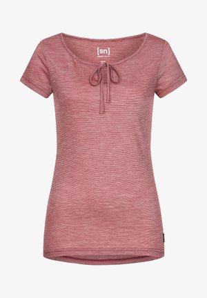 MERINO T-SHIRT W RELAX TEE - Print T-shirt - rubinrot