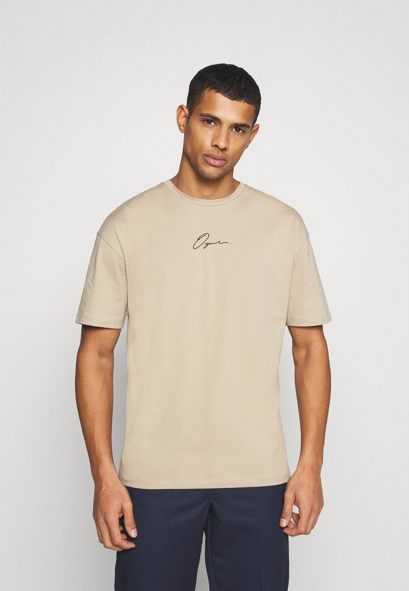 Jack & Jones - JORSCRIPTT TEE CREW NECK - T-Shirt print - crockery