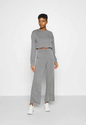 SWEAT SET WIDE LEG TROUSER - Tracksuit - mottled grey