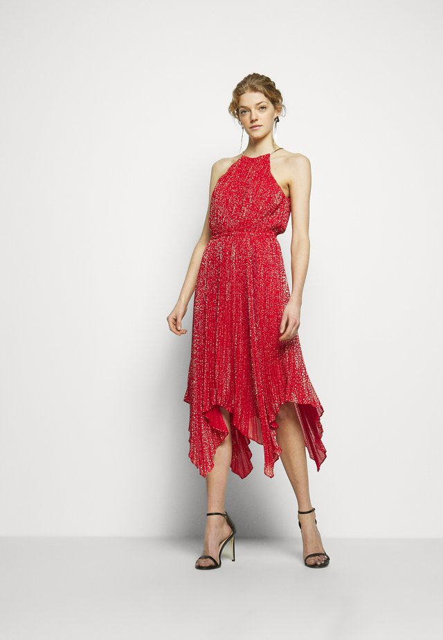 PLEATD HALTR - Cocktail dress / Party dress - crimson