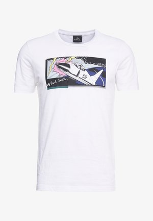 SLIM FIT JET - Print T-shirt - white