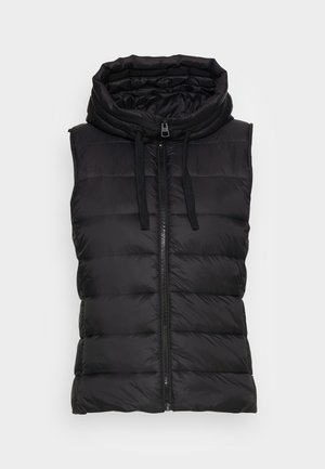 RECYCLED VEST FIX HOOD STAND UP COLL - Waistcoat - black