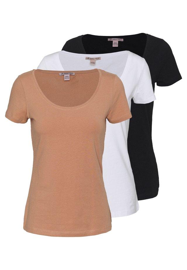 3 PACK - Jednoduché triko - white/camel/black