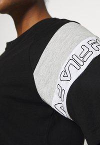 Fila - LOLLE - Print T-shirt - black/light grey melange/bright white - 4