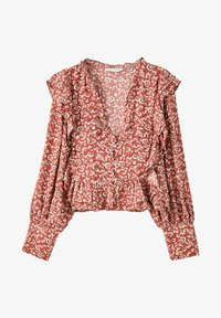 PULL&BEAR - MIT VOLANT - Blouse - dark red - 1
