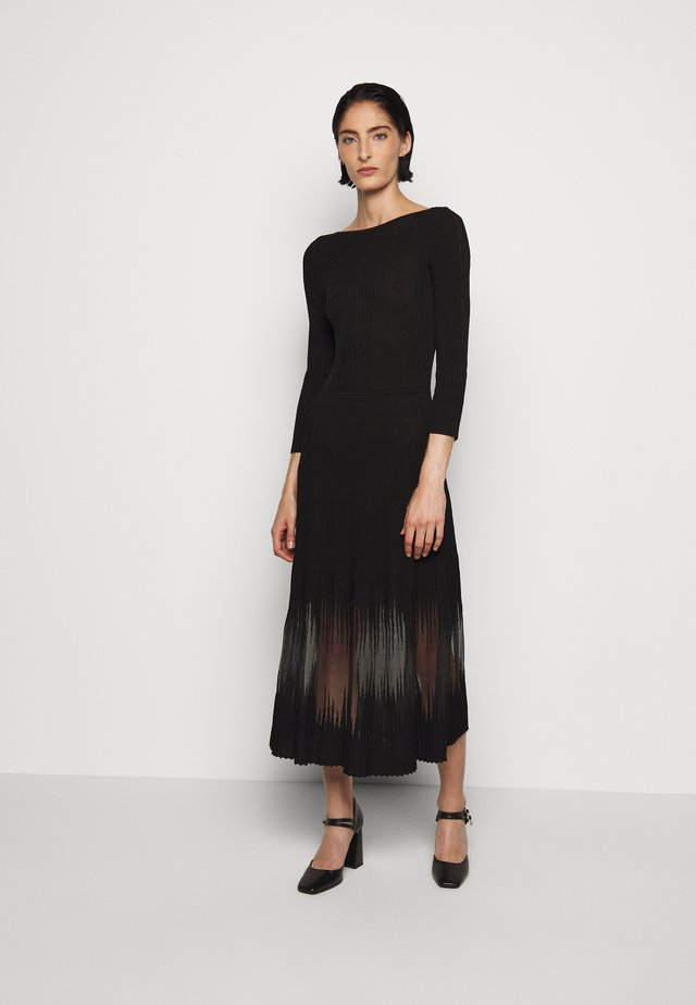 DRESS SEE THROUGH - Gebreide jurk - nero
