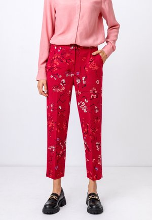 JACQUARD  CHERRY BLOSSOM  - Trousers - rosewood