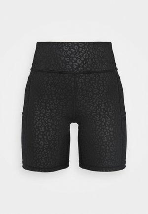 SIDE POCKET BLACKOUT BIKE SHORT - Leggings - black