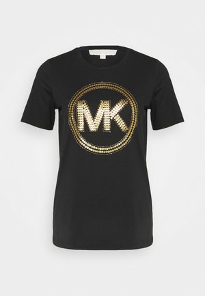 Print T-shirt - black/antique brass