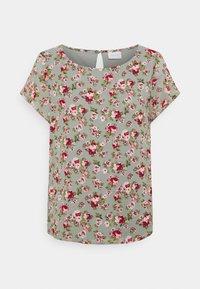 Vila - VIMILINA FLOWER - Print T-shirt - green milieu/red/pink - 5