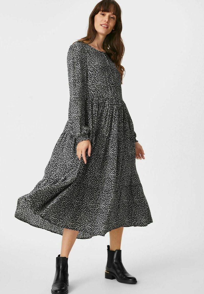 C&A - Day dress - black / white