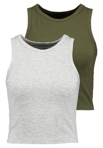2 PACK  - Débardeur - mottled grey/khaki