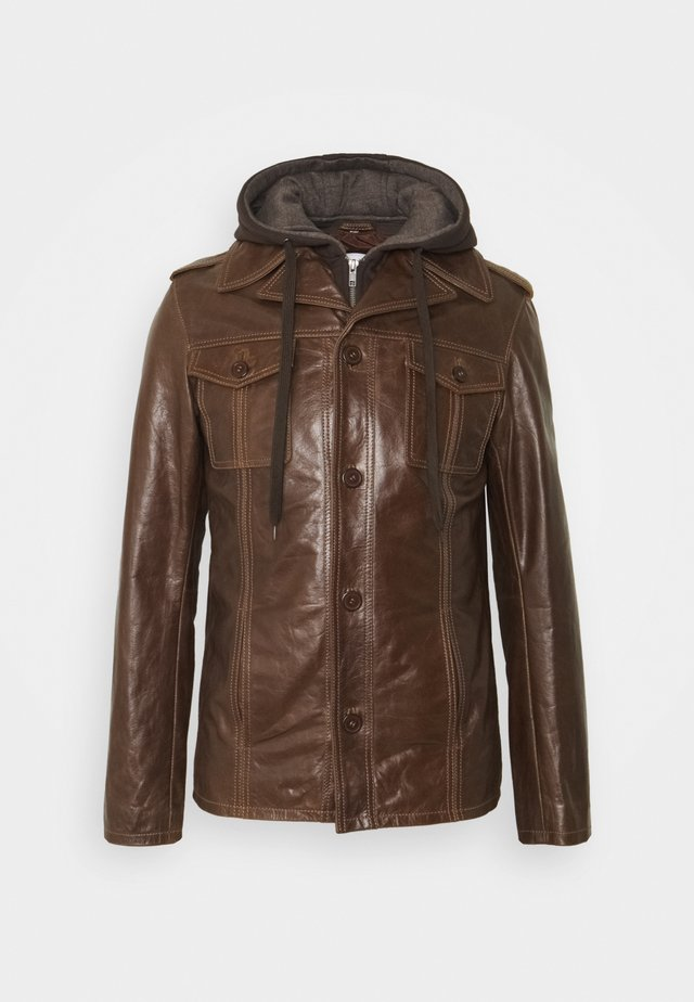 CRAZY HOOD - Leather jacket - mocca