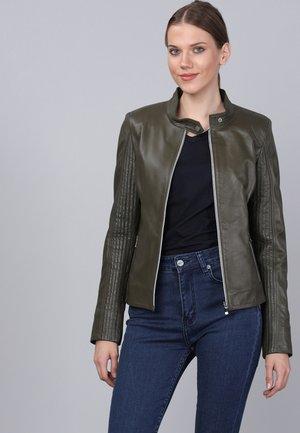 Kožená bunda - khaki