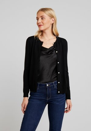 BASIC- PEARL BUTTON CARDIGAN - Kardigan - black