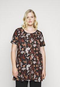 Evans - FLORAL FRILL SHORT SLEEVE TUNIC - Print T-shirt - multi-coloured - 0