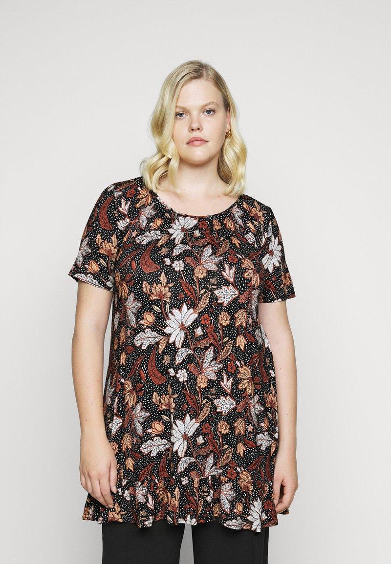 Evans - FLORAL FRILL SHORT SLEEVE TUNIC - Print T-shirt - multi-coloured
