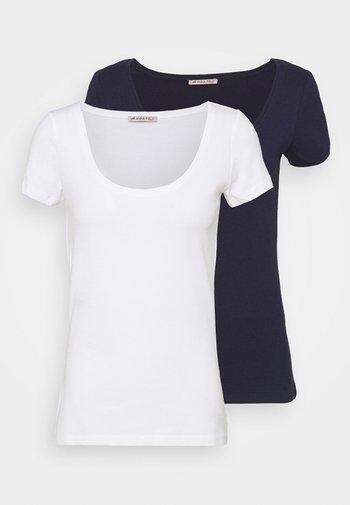2 PACK  - T-shirts - dark blue/white