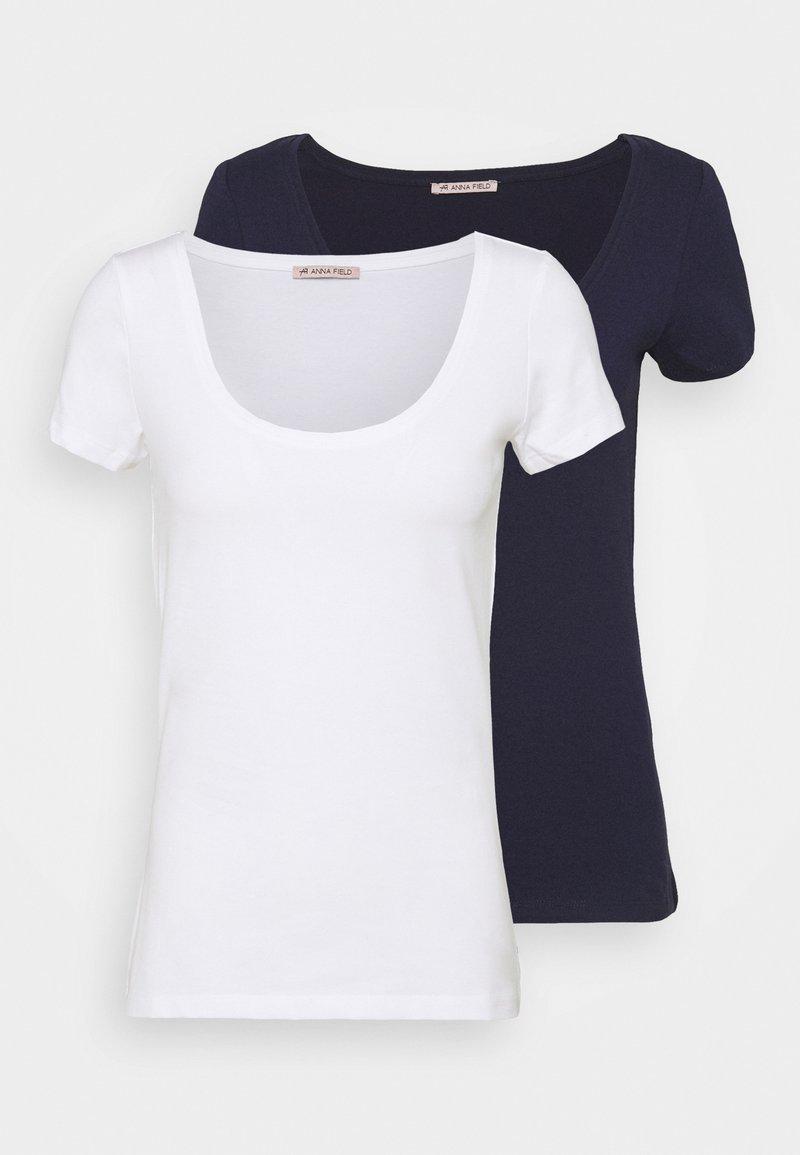 Anna Field - 2 PACK  - T-shirt basic - dark blue/white