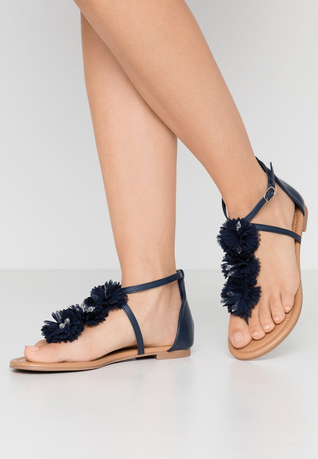 FLEURS  - T-bar sandals - navy