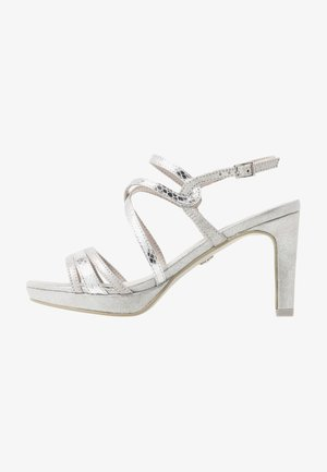 Sandály na vysokém podpatku - silver