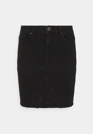ONLFAN SKIRT RAW EDGE - Mini skirt - black denim