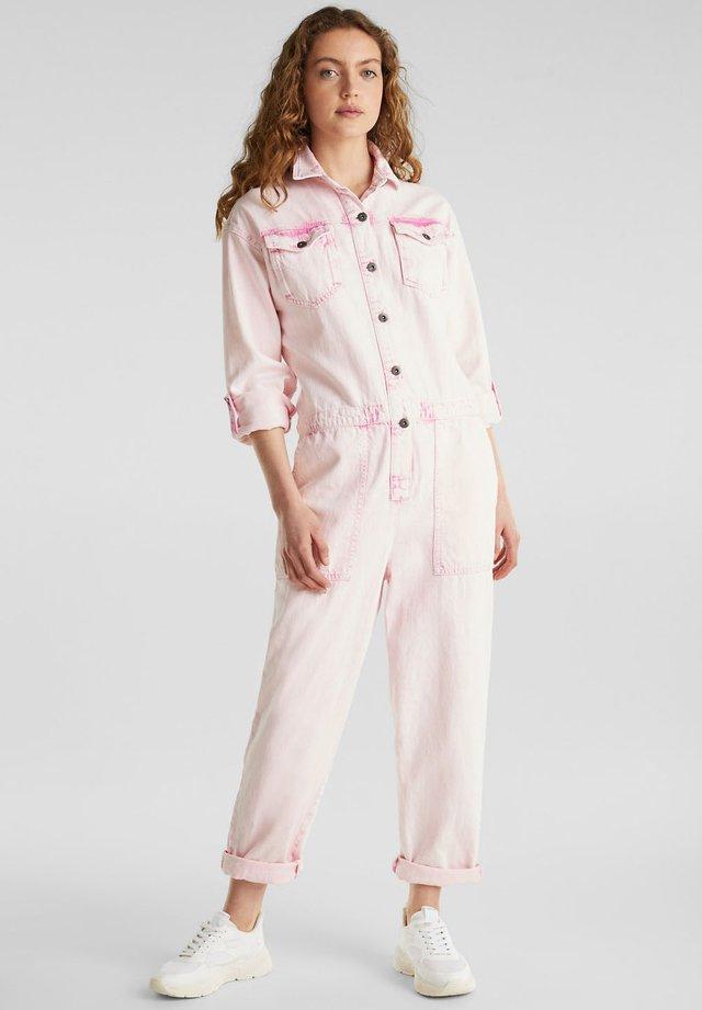 BOILERSUIT MIT ACID-WASCHUNG - Jumpsuit - pink