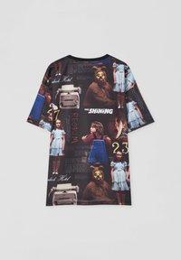 PULL&BEAR - Print T-shirt - mottled black - 1