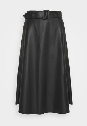 NILA SKIRT - Leather skirt - black