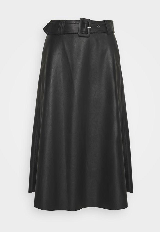 NILA SKIRT - Kožená sukně - black