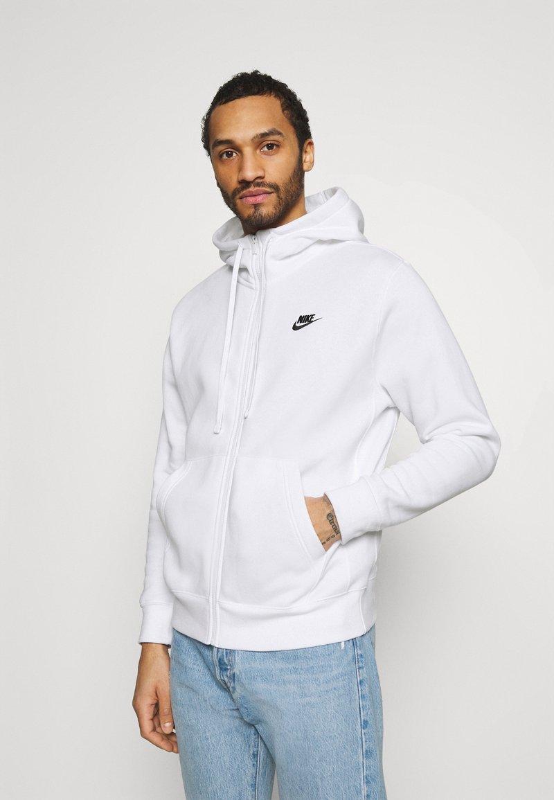 Nike Sportswear - CLUB HOODIE - Tröja med dragkedja - white/black