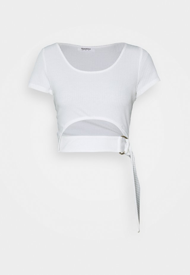 RING FRONT CROP  WITH SHORT SLEEVES AND SCOOP NECKINE - Triko s potiskem - cream