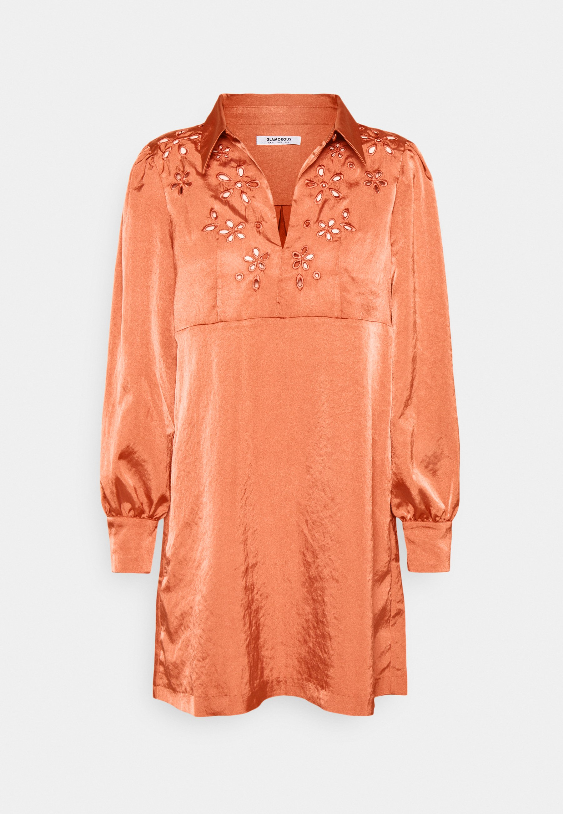 Women CUTWORK SHIFT MINI DRESS WITH LONG SLEEVES COLLAR AND KEYHOLE  - Day dress