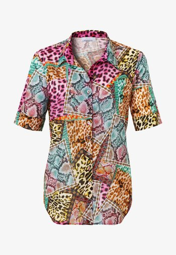 Button-down blouse - türkis druck