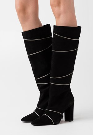 CAMELIE - High heeled boots - nero/gun metal