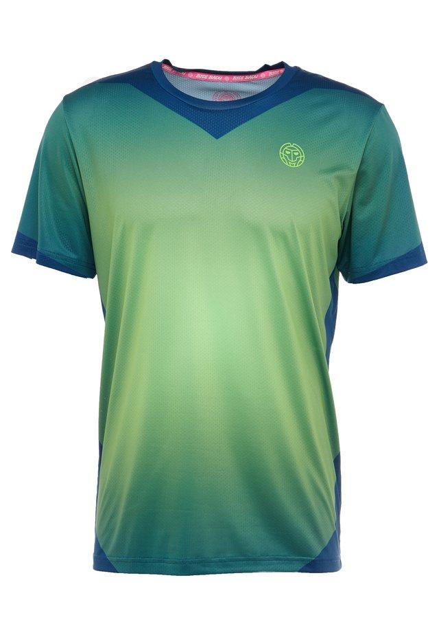 Printtipaita - dark blue/neon green