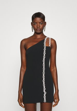 CRYSTAL CHAIN DETAIL DOUBLE STRAP ASSYM DRESS - Cocktail dress / Party dress - black/silver