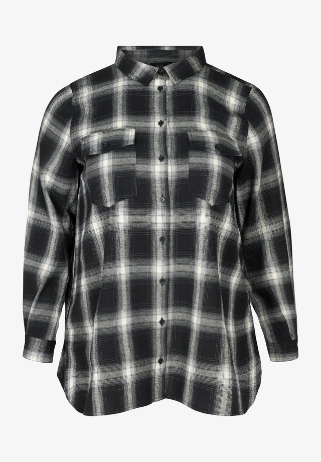 MIT BRUSTTASCHEN - Overhemdblouse - black comb