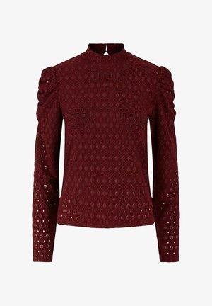 MIT LANGEN ÄRMELN LOCHSTICKEREI - Long sleeved top - cabernet