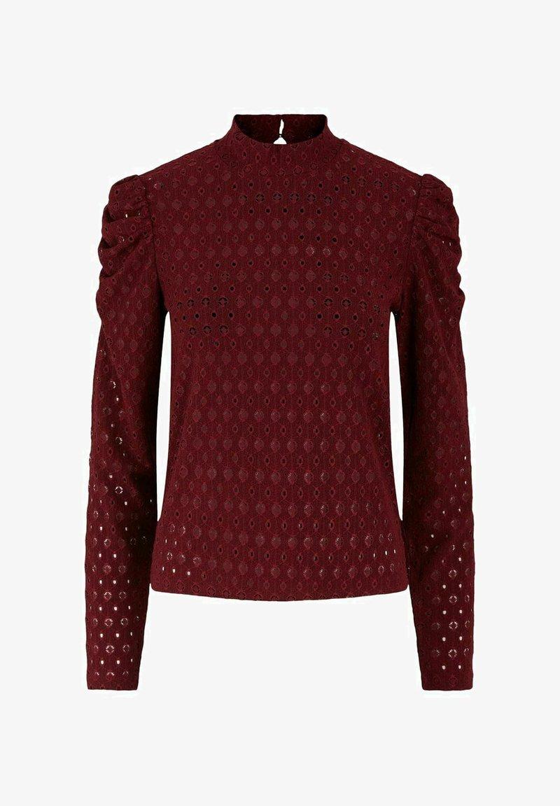 Pieces - MIT LANGEN ÄRMELN LOCHSTICKEREI - Long sleeved top - cabernet