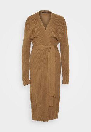 BELTED MAXI CARDIGAN - Strickjacke - mocha