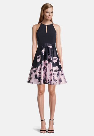 MIT BLUMENPRINT - Cocktail dress / Party dress - dark blue-rosé