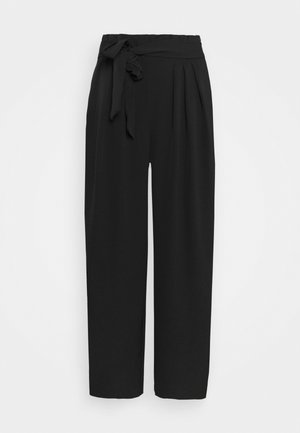 Wide cropped leg trousers with belt - Kalhoty - black