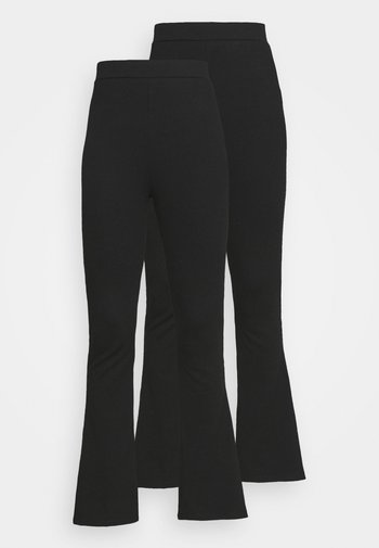 FLARED TROUSERS 2 PACK - Trousers - black/black