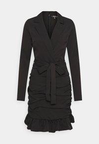 Missguided Tall - RUCHED FRILL BLAZER DRESS - Kjole - black - 0