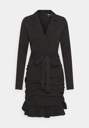 RUCHED FRILL BLAZER DRESS - Vestito estivo - black