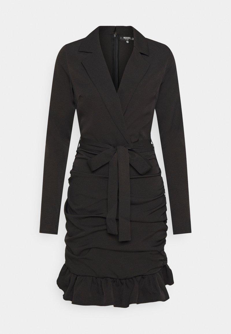 Missguided Tall - RUCHED FRILL BLAZER DRESS - Kjole - black