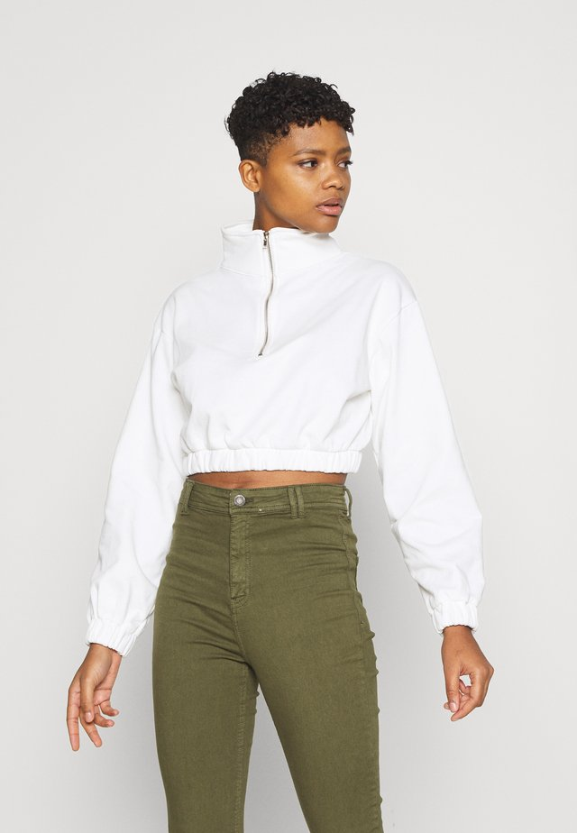 LONG SLEEVE CROP WITH HIGH NECK - Mikina - cream