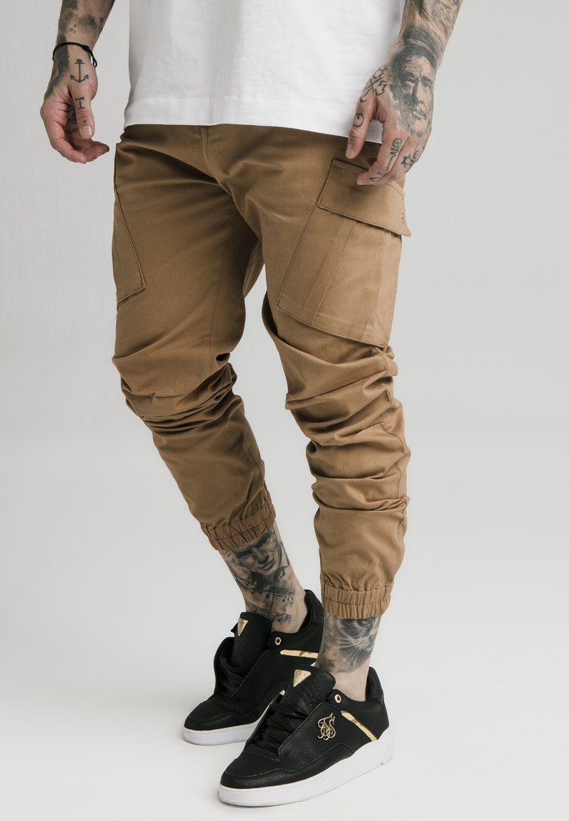 SIKSILK - ELASTIC CUFF PANT - Cargo trousers - beige