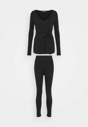 TIE WAIT SET - Leggings - Trousers - black